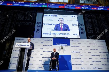 Property Development Company Metrovacesa's Chairman, Ignacio Moreno Martinez (L), delivers a speech next to CEO Jorge Perez de Leza during the company' listing at Madrid Stock Exchange Market, Spain, 06 February 2018. The company's shares dropped by seven percent after its second listing. The company listed for second time after leaving the stock market in 2013..