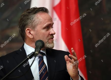 Danish Foreign Minister and Chairman of the Committee of Ministers of the Council of Europe Anders Samuelson speaks during a  briefing for journalists after talks with Russian Foreign Minister Sergei Lavrov (not pictured) in Moscow, Russia, 06 February 2018. The ministers discussed bilateral and Russia-EU topics and Russia's participation in the the Ukrainian crisis.