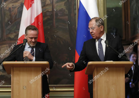Russian Foreign Minister Sergei Lavrov (R) and Danish Foreign Minister and Chairman of the Committee of Ministers of the Council of Europe Minister Anders Samuelson (L) make a briefing after their talks in Moscow, Russia, 06 February 2018. The ministers discussed bilateral and Russia-EU topics and Russia's participation in the Ukrainian crisis.