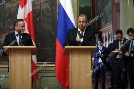 Russian Foreign Minister Sergei Lavrov (R) and Danish Foreign Minister and Chairman of the Committee of Ministers of the Council of Europe Minister Anders Samuelson (L) make a briefing for journalists after their talks in Moscow, Russia, 06 February 2018. The ministers discussed bilateral and Russia-EU topics and Russia's participation in the Ukrainian crisis.