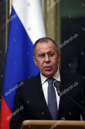 Russian Foreign Minister Sergei Lavrov speaks during a  briefing for journalists after talks with Danish Foreign Minister and Chairman of the Committee of Ministers of the Council of Europe Anders Samuelson in Moscow, Russia, 06 February 2018. The ministers discussed bilateral and Russia-EU topics and Russia's participation in the the Ukrainian crisis.