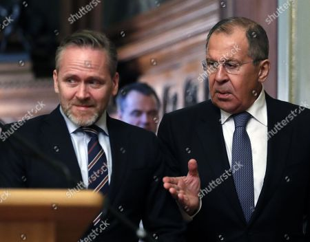 Stock Picture of Russian Foreign Minister Sergei Lavrov (R) and Danish Foreign Minister and Chairman of the Committee of Ministers of the Council of Europe Minister Anders Samuelson (L) arrive for a signing ceremony after their talks in Moscow, Russia, 06 February 2018. The ministers discussed bilateral and Russia-EU topics and Russia's participation in the Ukrainian crisis.
