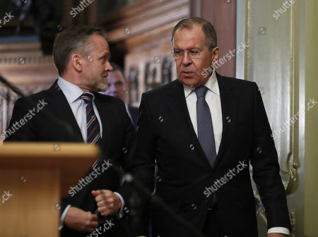 Stock Photo of Russian Foreign Minister Sergei Lavrov (R) and  Danish Foreign Minister and Chairman of the Committee of Ministers of the Council of Europe Anders Samuelson (L) talk to each other as they arrive for a signing ceremony after their talks in Moscow, Russia, 06 February 2018. The ministers discussed bilateral and Russia-EU topics and Russia's participation in the Ukrainian crisis.