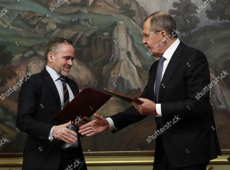 Stock Image of Russian Foreign Minister Sergei Lavrov (R) and  Danish Foreign Minister  and Chairman of the Committee of Ministers of the Council of Europe Anders Samuelson (L) attend a signing ceremony after their talks in Moscow, Russia, 06 February 2018. The ministers discussed bilateral and Russia-EU topics and Russia's participation in the Ukrainian crisis.