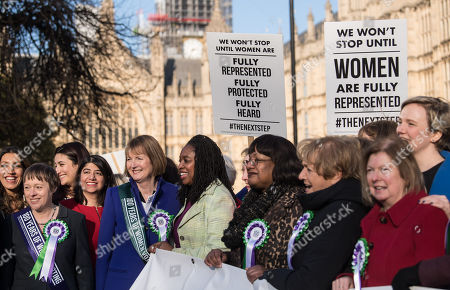 Maria Eagle, Harriet Harman, Diane Abbott and other female Labour MPs and members of the Labour Party at a photocall launching a year long campaign to celebrate the centenary of women's suffrage