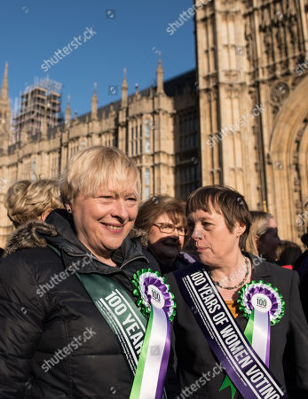 Angela Eagle and Maria Eagle at a photocall launching a year long campaign to celebrate the centenary of women's suffrage