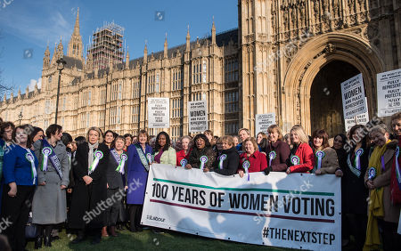 Yvette Cooper, Maria Eagle, Harriet Harman, Diane Abbott and other female Labour MPs and members of the Labour Party at a photocall launching a year long campaign to celebrate the centenary of women's suffrage