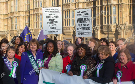 Sisters Angela Eagle and Maria Eagle at the Suffragette photocall. Women MPs and Cabinet members assemble on College Green to celebrate 100 Years of women's suffrage and the right to vote.