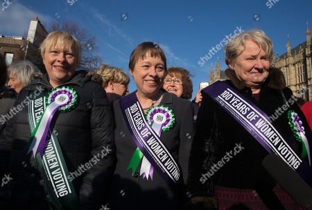 Stock Image of Sisters Angela Eagle and Maria Eagle at the Suffragette photocall. Women MPs and Cabinet members assemble on College Green to celebrate 100 Years of women's suffrage and the right to vote.