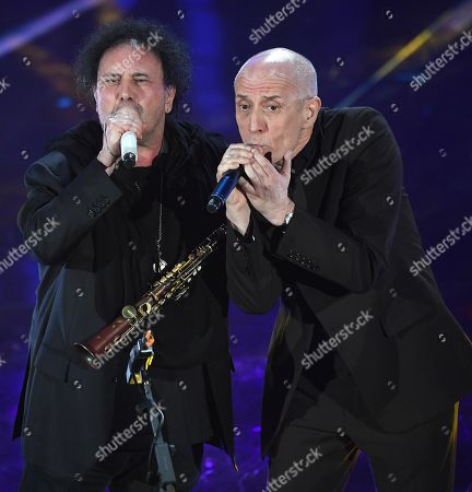 Italian singers Enzo Avitabile (L) and Peppe Servillo (R) perform on stage during the 68th Sanremo Italian Song Festival at the Ariston theatre in Sanremo, Italy, 06 February 2018.  The festival will run from 06 to 10 February.