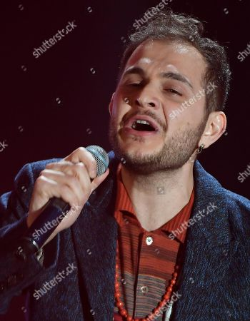 Italian singer Renzo Rubino performs on stage during the 68th Sanremo Italian Song Festival at the Ariston theatre in Sanremo, Italy, 06 February 2018. T The festival will run from 06 to 10 February.