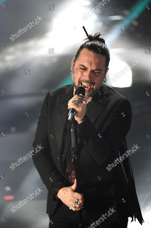 Italian singer Francesco Sarcina of the Italian band La Vibrazioni perform on stage during the 68th Sanremo Italian Song Festival at the Ariston theatre in Sanremo, Italy, 06 February 2018.  The festival will run from 06 to 10 February.