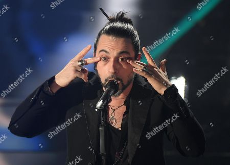 Italian singer Francesco Sarcina of the Italian band Le Vibrazioni performs on stage during the 68th Sanremo Italian Song Festival at the Ariston theatre in Sanremo, Italy, 06 February 2018. The festival will run from 06 to 10 February.