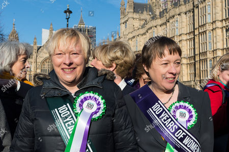 Female Labour politicians including Angela Eagle MP (L) gather outside Parliament as the Labour Party launches campaign to celebrate the 100th anniversary of the Representation of the People Act 1918.