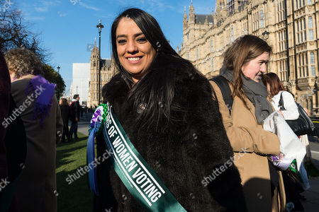 Naz Shah MP joined Labour female politicians outside Parliament as the Labour Party launches campaign to celebrate the 100th anniversary of the Representation of the People Act 1918.