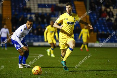 AFC Wimbledon defender Jonathan Meades (3) in action  during the EFL Sky Bet League 1 match between Bury and AFC Wimbledon at the JD Stadium, Bury. Picture by Simon Davies