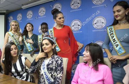 Miss world 2017 Manushi Chhillar, Stephanie Del Valle of Puerto Rico (Miss World 2016), Magline Jeruto (Miss World Africa), Ha Eun Kim (Miss World Asia), Annie Dian Evans (Miss World Oceania), Stephanie Jayne Hill (Miss World Europe), Solange Johnson Sinclair (Miss World Caribbean), Alma Andrea Meza Carmona (Miss World Americas)and Julia Morley, chairman and owner of the Miss World Organisation