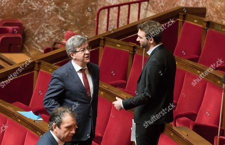Jean-Luc Melenchon and Ugo Bernalicis during the weekly session of questions to the government at the National Assembly