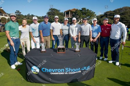Justin Verlander, Kelly Rohrbach, Brandt Snedeker, Harris Barton, Dustin Johnson, Steve Green, Aaron Rogers, Jimmy Walker, Vaughn Taylor, D. A. Points, Larry Fitzgerald. Left to right, Justin Verlander, Kelly Rohrbach, Brandt Snedeker, Harris Barton, Dustin Johnson, Steve Green, President of Chevron Asia Pacific Exploration and Production, Aaron Rogers, Jimmy Walker, Vaughn Taylor, D. A. Points, and Larry Fitzgerald participate in the Chevron's 8th annual $100,000 Shoot-Out in the Champions vs Champions to kick off the AT&T National Pro-Am golf tournament, in Pebble Beach, Calif. Since 2013, Chevron has provided over $500,000 to local nonprofits and education organizations through this event