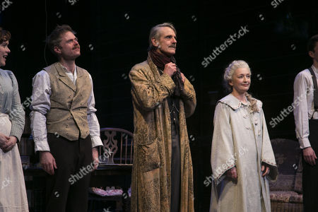 Rory Keenan (James Tyrone Jr), Jeremy Irons (James Tyrone) and Lesley Manville (Mary Tyrone) during the curtain call