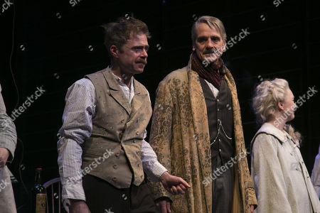 Rory Keenan (James Tyrone Jr) and Jeremy Irons (James Tyrone) during the curtain call