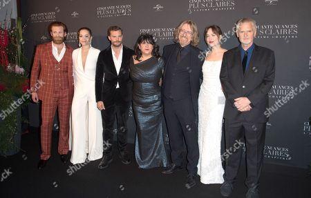 Eric Johnson, Rita Ora, Jamie Dornan, E.L. James, a guest, Dakota Johnson and James Foley