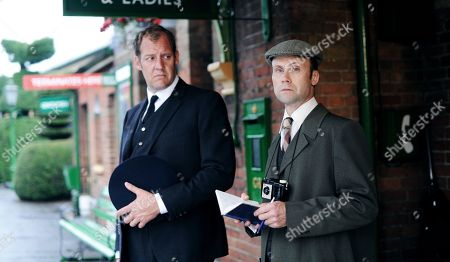 Stock Picture of Justin Edwards as Station Master Paterson and Simon Scardifield as Cedric Naughton