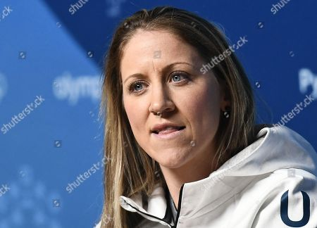 Player Meghan Duggan during a press conference of the Women's USA Ice Hockey Team at the main press center at the Alpensia resort before the start of the PyeongChang 2018 Olympic Games, South Korea, 07 February 2018.