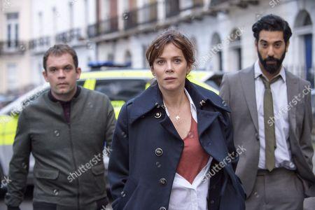 Anna Friel as Marcella, Ray Panthaki as Rav and Jack Doolan as Mark.