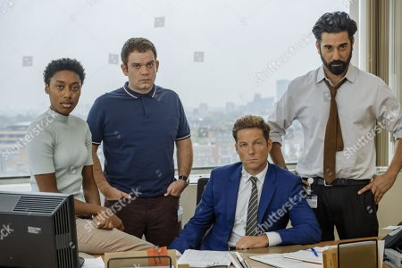 Stock Picture of Ray Panthaki as Rav, Sophia Brown as Leann, Jamie Bamber as Tim and Jack Doolan as Mark.