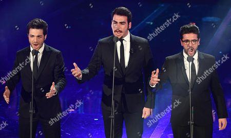 Members of the Italian pop trio Il Volo, Gianluca Ginoble (L), Ignazio Boschetto (C) and Piero Barone (R) perform on stage at the 68th Sanremo Italian Song Festival, in Sanremo, Italy, 07 February 2018. The festival will run from 06 to 10 February.