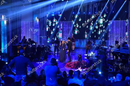 Italian singers Noemi (L) and Mario Biondi (R) perform during the 'DopoFestival' tv show on occasion of the 68th Sanremo Italian Song Festival, in Sanremo, Italy, 07 February 2018. The festival will run from 06 to 10 February.