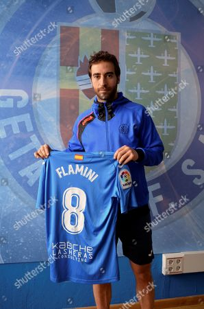 French midfielder Mathieu Flamini poses for the photographers during his presentation as a new Getafe's new player in Getafe, Madrid, Spain, 07 February 2018.