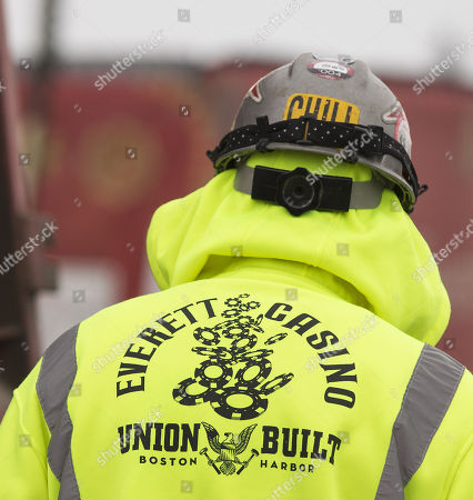 A union construction worker enters the Wynn Boston Harbor Casino project site in Everett, Massachusetts, USA, 07 February 2018. The Massachusetts Gaming Commission is to review the suitability of continuing to hold a gaming license for the multi-billion dollar construction project of a hotel and casino following the resignation of CEO Steve Wynn on 06 February 2018, due to an alleged pattern of sexual misconduct.