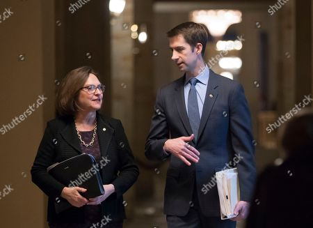 Deb Fischer, Tom Cotton. Sen. Deb Fischer, R-Neb., left, and Sen. Tom Cotton, R-Ark., leave the office of Senate Majority Leader Mitch McConnell, R-Ky., just before the announcement of an agreement in the Senate on a two-year, almost $400 billion budget deal that would provide Pentagon and domestic programs with huge spending increases, at the Capitol in Washington