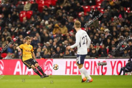 Lewis Collins of Newport County takes a free kick during the The FA Cup fourth round replay match between Tottenham Hotspur and Newport County at Wembley Stadium, London. Picture by Toyin Oshodi