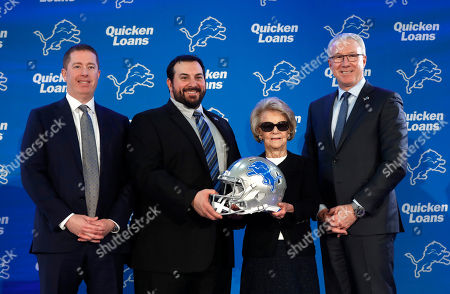 Matt Patricia, Bob Quinn, Martha Firestone Ford, Rod Wood. Detroit Lions general manager Bob Quinn, from left, new head coach Matt Patricia; owner and chairman Martha Firestone Ford and president Rod Wood pose during an NFL football news conference at the team's training facility in Allen Park, Mich