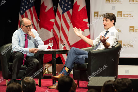 Prime Minister of Canada Justin Trudeau talks with David Axelrod