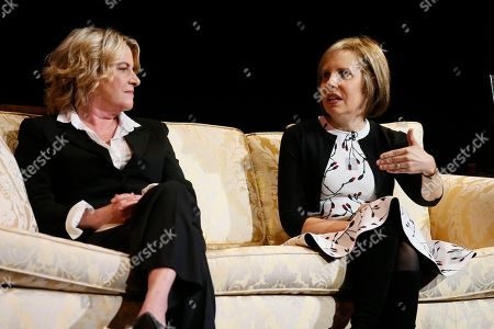 """Stock Picture of Barbara Hall, Michelle King. Barbara Hall, left, Creator and Showrunner, """"Madam Secretary"""", and Co-Executive Producer, """"Homeland"""", and Michelle King, Creator, """"The Good Wife"""", """"The Good Fight"""" and """"BrainDead"""" participate in the Television Academy's member event """"Penning Pennsylvania Ave.: How Hollywood (Re)Creates The Oval Office,"""" on at the Saban Media Center at the Television Academy in North Hollywood Calif"""