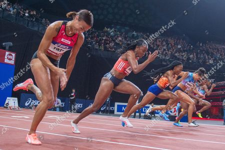 Tatjana Pinto , Remona Burchell , Marie josee Ta Lou, Mujinga Kambunji , Carolle Zahi, Dina Asher Smith run 60M Sprint Women final