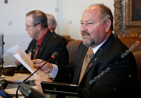 Oklahoma state Rep. Kevin Wallace, R-Wellston, speaks during a budget committee hearing in Oklahoma City