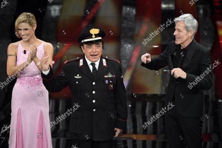 Michelle Hunziker, the actor Nino Frassica, Claudio Baglioni