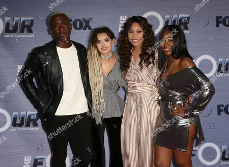 "Vincint, Zhavia, Evvie McKinney, Candice Boyd. Vincint, from left, Zhavia, Evvie McKinney and Candice Boyd arrive at the season finale viewing party of ""The Four: Battle for Stardom"" at the Delilah Restaurant and Lounge, in West Hollywood, Calif"