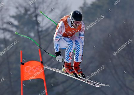 United States' Wiley Maple competes in men's downhill training at the 2018 Winter Olympics in Jeongseon, South Korea