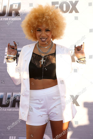 """Lex Lu arrives at the Season Finale Viewing Party of """"The Four: Battle for Stardom"""" at the Delilah Restaurant and Lounge, in West Hollywood, Calif"""