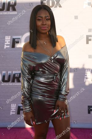 "Candice Boyd arrives at the Season Finale Viewing Party of ""The Four: Battle for Stardom"" at the Delilah Restaurant and Lounge, in West Hollywood, Calif"
