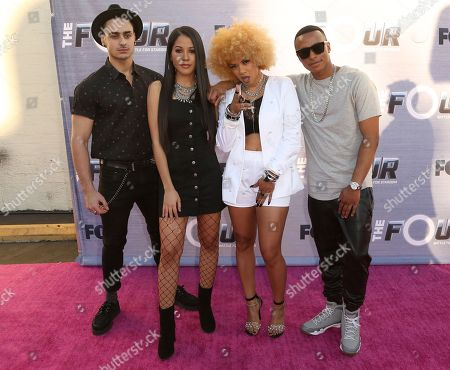 """Ash Minor, Elanese Lansen, Lex Lu, Blair Perkins. Ash Minor, from left, Elanese Lansen, Lex Lu and Blair Perkins arrive at the Season Finale Viewing Party of """"The Four: Battle for Stardom"""" at the Delilah Restaurant and Lounge, in West Hollywood, Calif"""
