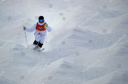 Felix Elofsson, of Sweden, runs the course during the men's moguls qualifying at Phoenix Snow Park at the 2018 Winter Olympics in Pyeongchang, South Korea