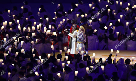 Singers from left Ha Hyun-woo, Lee Eun-mi, Jeon In-kwon and Ahn Ji-young perform during the opening ceremony of the 2018 Winter Olympics in Pyeongchang, South Korea