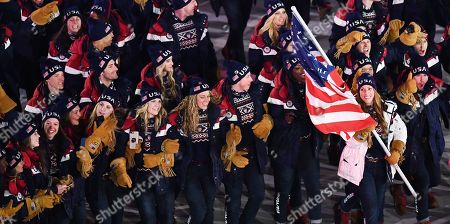 US flag bearer Erin Hamlin leads the US team into the stadium during the Opening Ceremony of the PyeongChang 2018 Olympic Games at the Olympic Stadium, Pyeongchang county, South Korea, 09 February 2018.